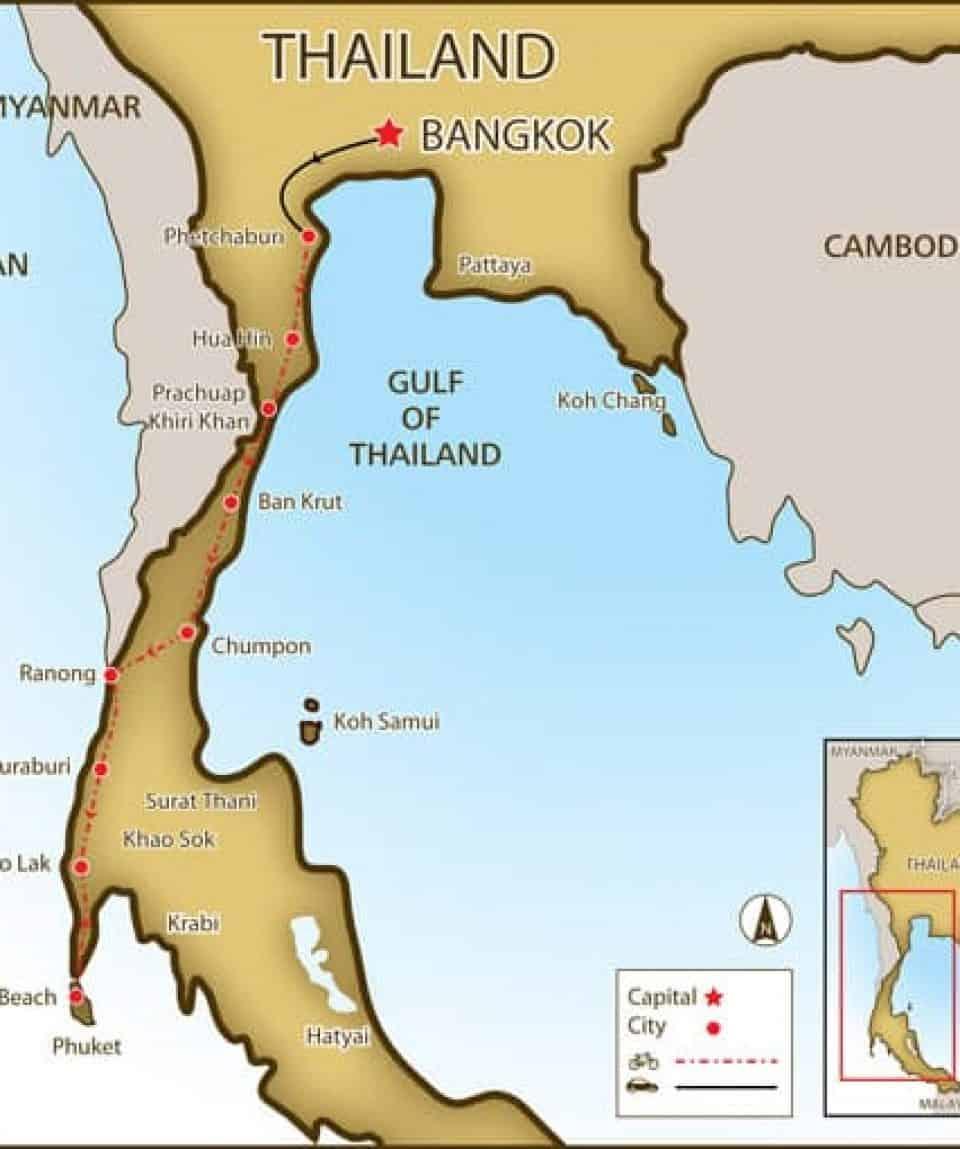 Cycle Bangkok to Phuket Map