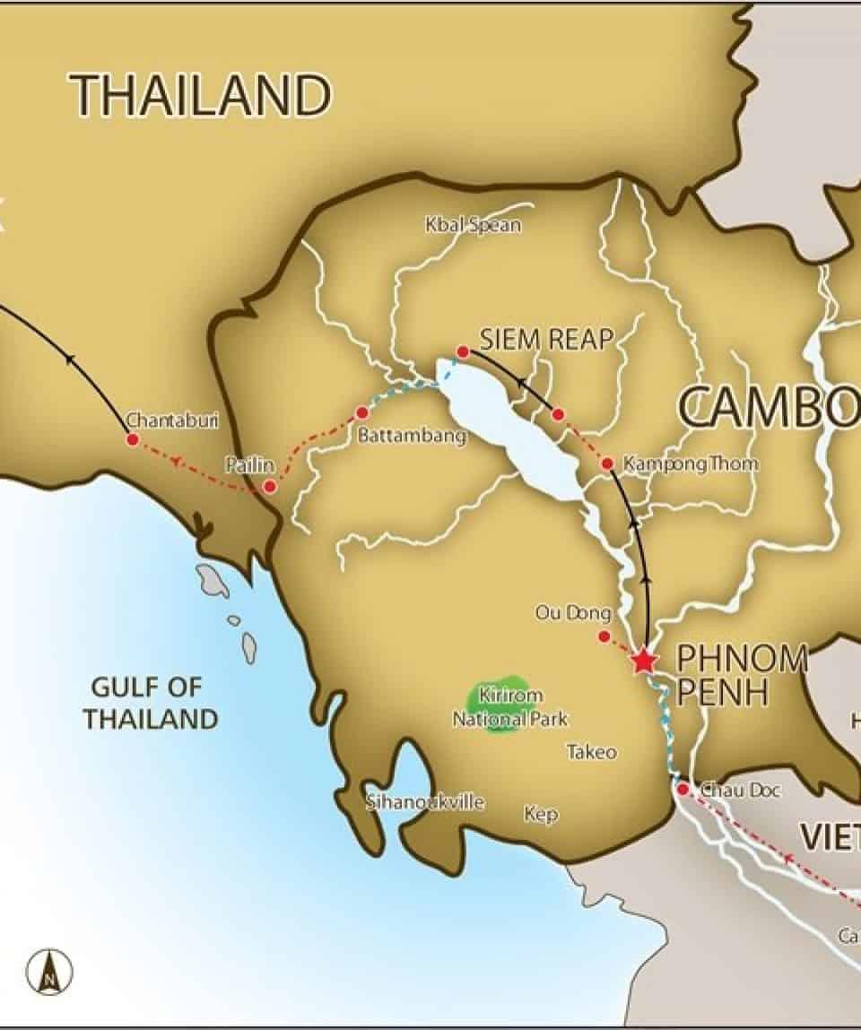 Ride Saigon to Bangkok Map