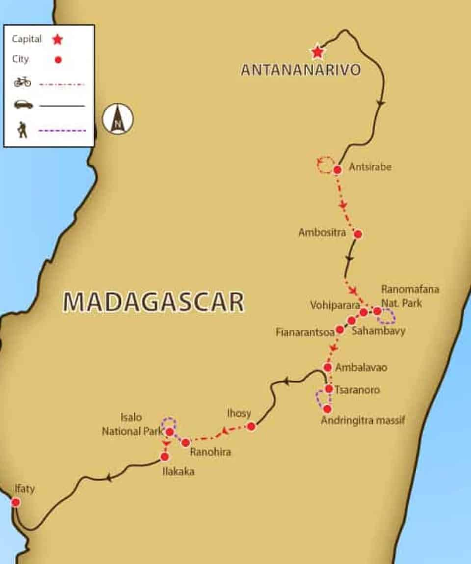 Hike and Bike Madagascar Map